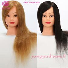 100% Human Hair Mannequin Head Hairdressing Salon Practice Training Model Head
