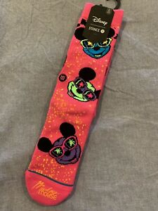 NWT L Stance X Disney Men's Socks Mickey Mouse 90s Neon Pink Large Summer Retro