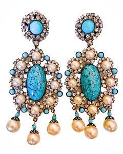 "LAWRENCE VRBA Stunning OOAK Turquoise Art Deco Earrings 4.0"""
