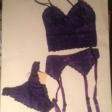 SMALL S EMPIRE PURPLE LACE CAMI + V PANTY + GARTERBELT GARTER MIXED LOT 3 SET !!