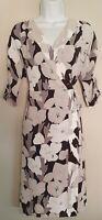 Womens Mint Velvet Grey Black Floral 3/4 Slit Sleeves Belted Wrap Dress 12.
