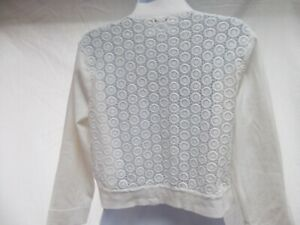 Calvin Klein sweater crop bolero wrap shrug open cardigan size L white lace MINT