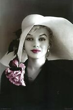 """MARILYN MONROE POSTER PRINT IN SUN HAT WITH PINK FLOWER 24""""x36"""" - NEW"""