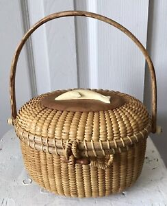 Vintage Nantucket basket purse with Carved Dolphin