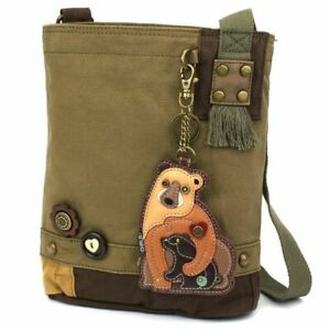 New Chala Messenger Patch Crossbody  Olive Green Bag Canvas TWO BEARS Mama Baby