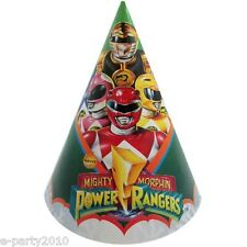 MIGHTY MORPHIN POWER RANGERS CONE HATS (8) ~ Birthday Party Supplies Favor Paper