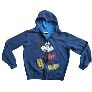 Disney Unisex Kids Blue Mickey Mouse Full Zip Distressed Hoodie Sweatshirt Large