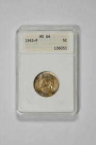 1943-P 5C Jefferson Nickel ANACS MS 64