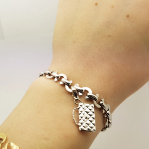 18ct Chanel CC Ferme White Gold Charm Bracelet & Handbag Charm #35086-1