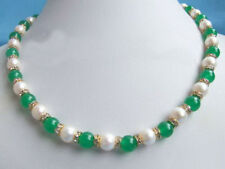 Genuine White Pearl Emarald Green Jade Yellow Gold Plated Crystal Clasp Necklace