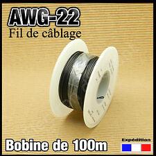 22N100# fil de câblage awg22 0,34mm²   100m noir modélisme électronique..
