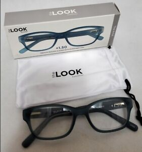 The Look Eyewear The Artist Premium Rubber Reading Glasses Blue +1.50 +2.00 New