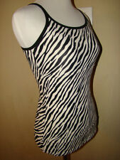 ZEBRA STRIPES BLACK WHITE FITTED REALLY SOFT TANK CAMI NYLON BLOUSE TOP SIZE M