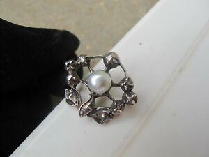 Antique natural pearl rose cut diamond silver brooch