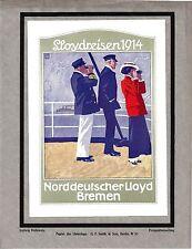 Original vintage print GERMAN LLOYD MARINE TRAVEL 1914 Hohlwein