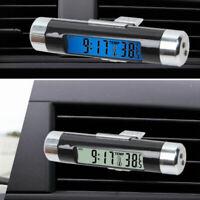 Auto Car Truck Dashboard Air Vent Mini Digital LCD Thermometer Time Clock