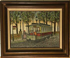 Signed H Hargrove -  Streetcar Trolley Central Park NY - Serigraph Art Painting