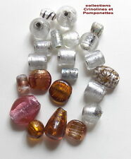 PERLES DE VERRE ARTISANALES MURANO  DECOREES MAIN LOT UNIQUE EN VRAC 22 perles