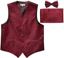 New Men's Paisley Tuxedo Vest Waistcoat & Cummerbund & Bow tie Wedding burgundy