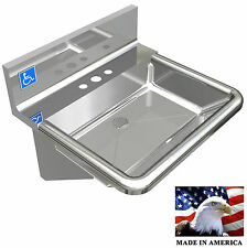 """ADA HEAVY DUTY STAINLESS STEEL HAND SINK FAUCET HOLES ONLY 18-3/4""""X17""""/DEEP=5"""""""