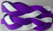 NEW! Purple White Braided Hair Band Head Under Sweaty Headband Armour Non Slip