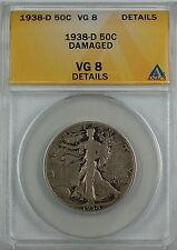 1938-D Walking Liberty Silver Half Dollar ANACS VG-8 Details Damaged, Better AKR