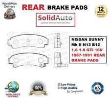 FOR NISSAN SUNNY Mk II N13 B12 1.6 1.8 GTi 16V 1987-1991 REAR BRAKE PADS SET