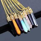 Collier avec pendentif en pierre colorée naturelle cristal quartz, pour femme