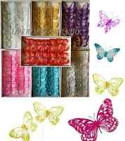 Box of 12, 8cm Clip-On Jewelled & Glitter Butterflies Wedding Craft Decoration *