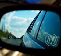 VOLKSWAGEN WING MIRROR ETCHED GLASS CAR VINYL DECALS-STICKERS x3 -7 YR VINYL
