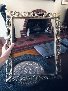 """Antique Italian Florentine Gold Leaf Gesso Carved Wood Frame 17"""" x 21"""" Baroque"""