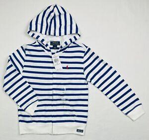 NWT Polo Ralph Lauren $55 Boys Zip Up Hoodie Sweater Striped White/Blue, Sz 7