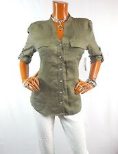 INC Womens Top L Army Green Linen Summer Shirt Gem Button Down 3/4 Slvs NWT $69