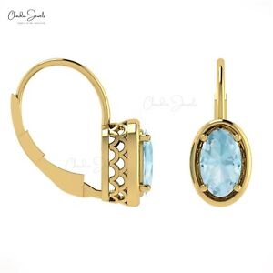 14K Yellow Gold Aquamarine Leverback Earrings Anniversary Gift For Her