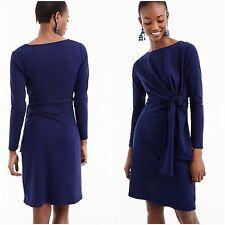 J Crew Women's Size M Blue Dark Ink Drapey Tie Waist Long Sleeve Dress NWT $118