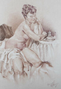Franco Matania (1922-2006) - 20th Century Chalk Drawing, Figure by Small Table