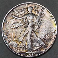 1941-S Walking Liberty Half Dollar 50C - Gem Uncirculated - Colorful Toning