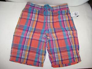 NWT POLO RALPH LAUREN Boys  Swim Shorts Trunks size L 14 - 16 ORANGE BLUE PLAID