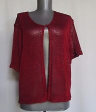 Sag Harbor open weave short sleeve red sweater large