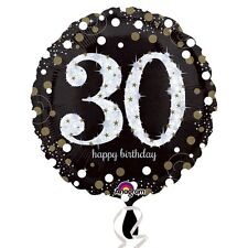 Black and Gold  Celebration 30 Birthday Foil Helium Balloon