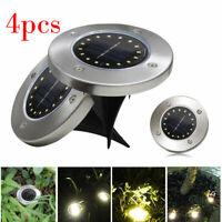4x Solar Bodeneinbaustrahler Außen Garten 16LED Wasserdicht Lampe Solarleuchte
