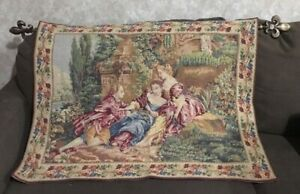 Vintage Wall Tapestry 18th Century Style La Romance Garden Scene France 28 x 37