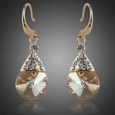 Sparkly Shiny Champagne Gold Round Austria Crystal Drop Dangle Fashion Earrings