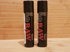 Raw Clipper Lighters X2 Black Gas Lighter Refillable Flint CHEAPEST on EBAY