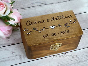 Wedding Ring Box Boho. Personalized Wooden Ring Holder. Rustic Ring Bearer Box.