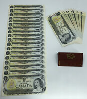 1973 $1 Bank Of Canada Banknote 50 In Sequence UNC AU - Small Stain - BFF51766XX