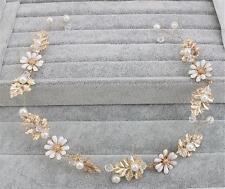 Perlas de cristal de oro de Vid Pelo Novia casco Tocado Boda Accesorios 1 P