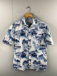 Croft & Barrow Men's Vintage Short Sleeve Beach Hawaiian Shirt Size S White Blue
