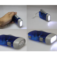 New No Battery 3 LEDs Hand Crank Squeeze Powered Dynamo Flashlight Torch