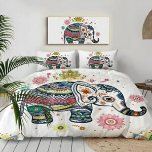 Floral Elephant Mandala Animal King Queen Twin Quilt Duvet Pillow Cover Bed Set
